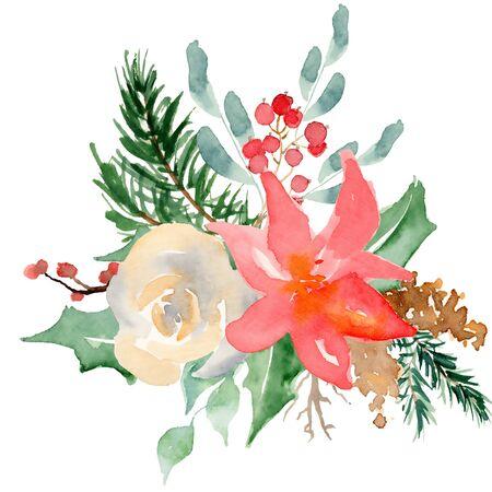 Floral winter wreath hand drawn illustration. Christmas Decoration Print Design Template Foto de archivo - 135453230