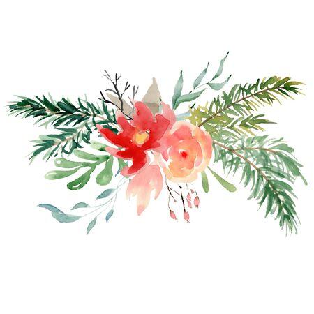 Floral winter wreath hand drawn illustration. Christmas Decoration Print Design Template Foto de archivo - 135453031