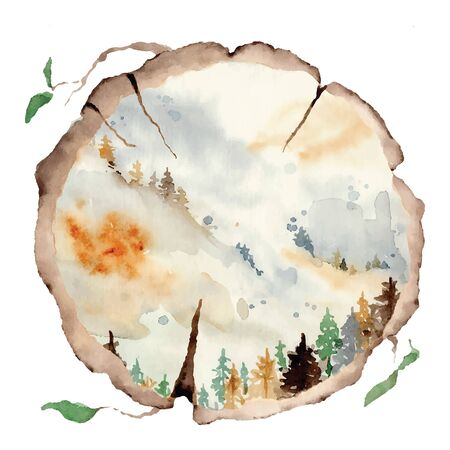 watercolor landscape with pine and fir trees and mountains abstract nature background, forest template, hand drawn illustration 向量圖像