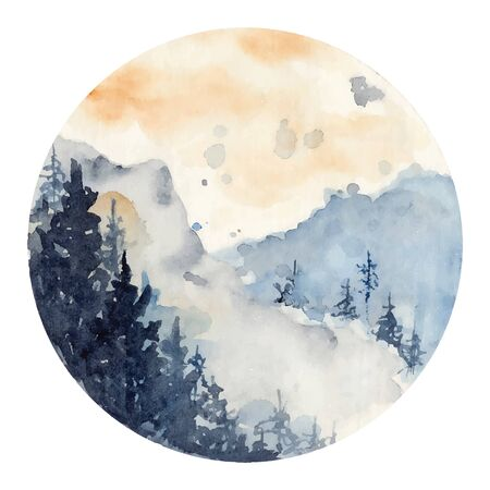 watercolor landscape with pine and fir trees and mountains abstract nature background, forest template, hand drawn illustration