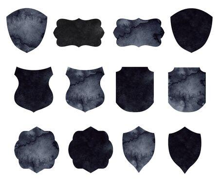 Luxury Heraldic Crests Logo Element Set with watercolor black texture