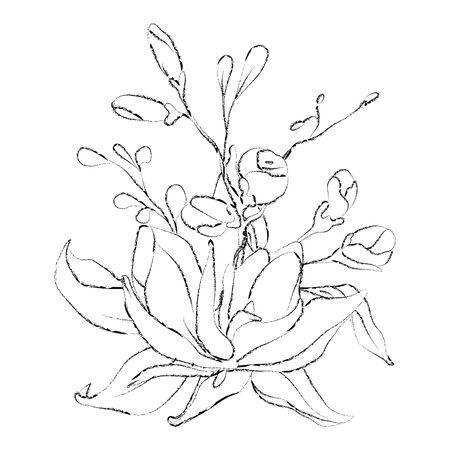 Botanical sketched floral bouquet. Line art hand drawn plants card.