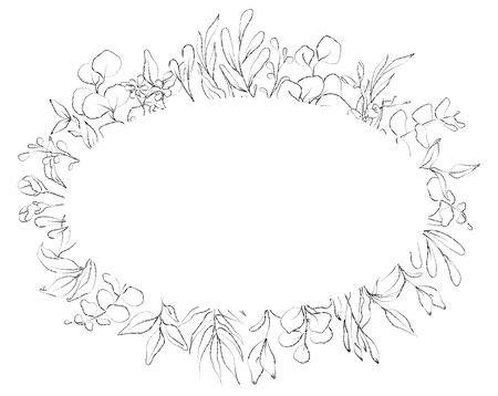 Botanical sketched floral frame. Line art hand drawn plants card. Vecteurs