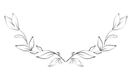 Botanical sketched floral frame. Line art hand drawn plants wreath.