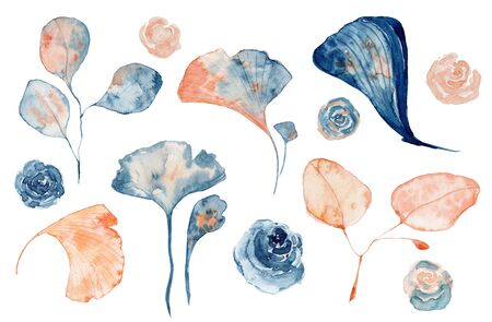 Watercolor set of isolated objects drawing blue and pink leaves and flowers on white background