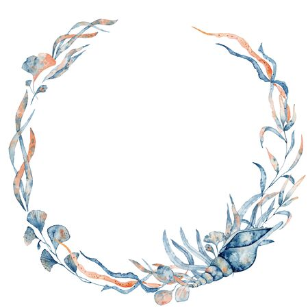 Watercolor underwater floral wreath with corals and leaves, hand drawn marine illustration