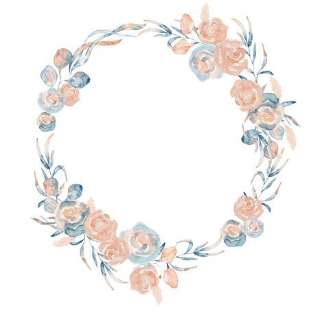 Watercolor floral wreath with pink and blue peony flowers and leaves, hand drawn illustration