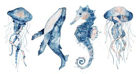 Set of sea animals. Blue watercolor ocean fish, Medusa, whale, seahorse Stockfoto