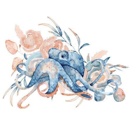 Watercolor illustration of octopus in blue color with floral composition isolated on white background, marine life