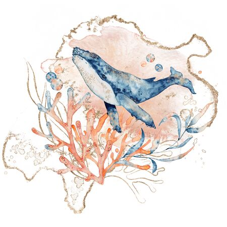 Watercolor illustration of whale in blue color with floral composition isolated on white background, marine life