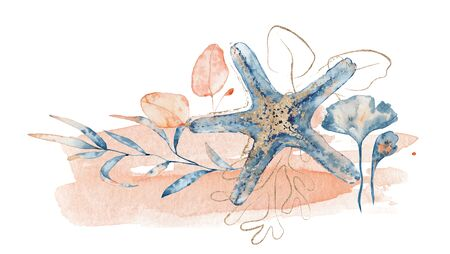 Watercolor underwater floral bouquet with starfish, hand drawn marine illustration