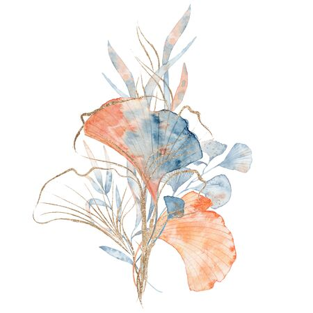Watercolor underwater floral bouquet with leaves and gold, hand drawn marine illustration