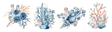 Watercolor underwater floral bouquet with corals and shells, hand drawn marine illustration