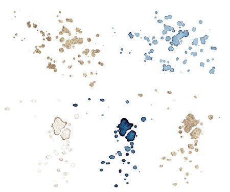 Set of blue and gold splash on white background. Grunge ink blots and drops. vector illustration