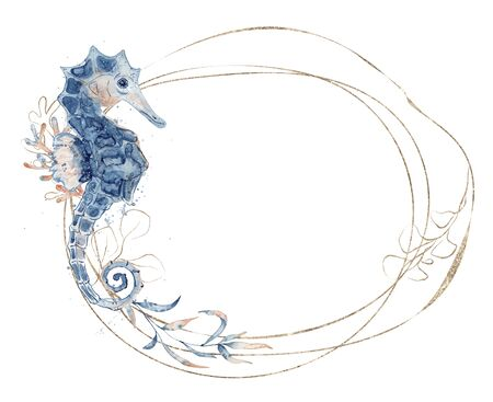 Watercolor golden frame with seahorse and floral hand drawn  illustration isolated on white background. Marine life 版權商用圖片