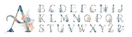 Watercolor blue marine english alphabet set with floral elements from A to Z hand drawn illustrations 版權商用圖片