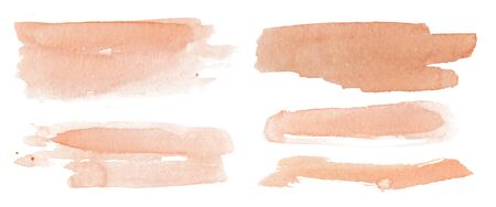 Abstract watercolor blush pink shapes on white background. Color splashing hand drawn vector painting