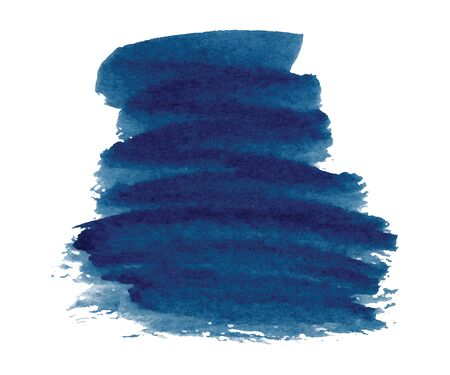 Abstract watercolor classic blue shapes on white background. Color splashing hand drawn vector painting
