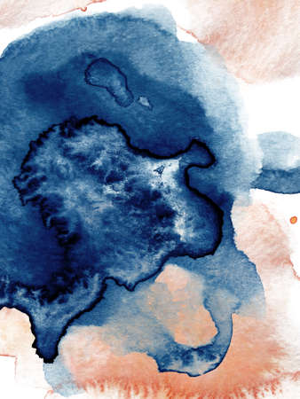 Watercolor abstract classic blue and gold, background, hand drawn watercolour texture illustration
