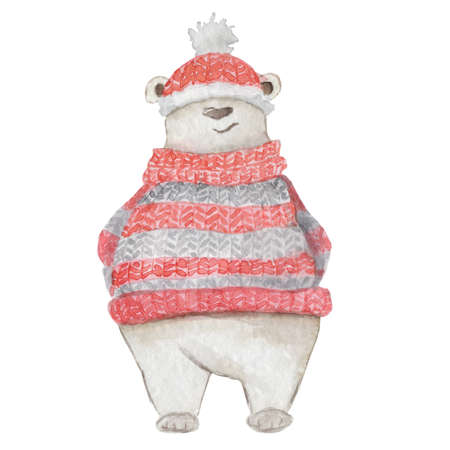Watercolor Christmas white polar bear in a red knitted sweater and hat Cute cartoon illustration isolated