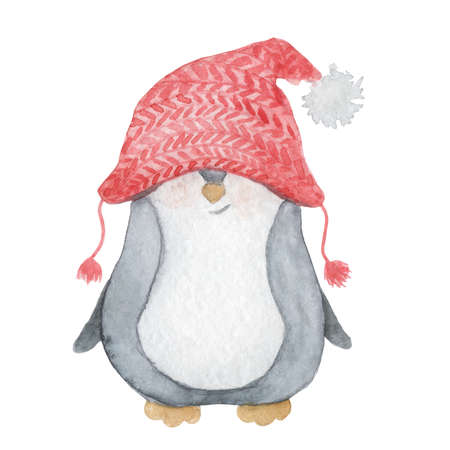 Watercolor Christmas cute penguin in a knitted red hat. Cartoon illustration isolated on  the white background