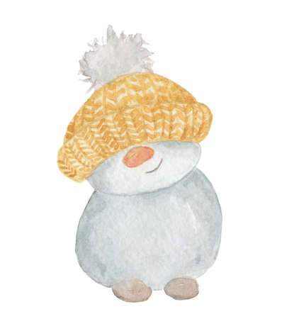 Watercolor Christmas Little cute snowman in a yellow hat. Cartoon illustration isolated on the white background 版權商用圖片
