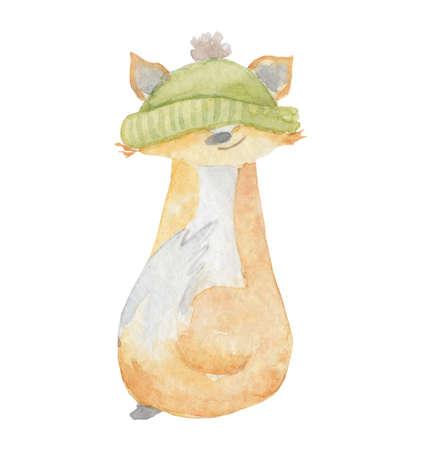 Watercolor fox in green hat Hand drawn illustration winter animal 版權商用圖片