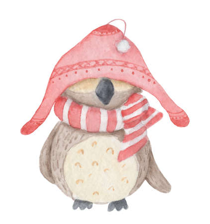 Watercolor Christmas cute owl in a red hat and scarf. Cartoon illustration isolated on the white background
