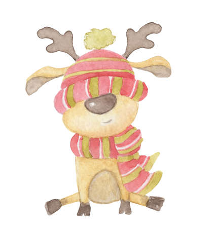 Watercolor Christmas Cute deer in a hat and scarf. Cartoon illustration isolated on the white background