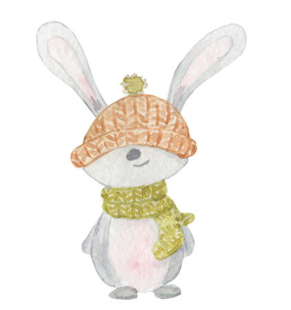 Watercolor white rabbit in a green scarf and yellow hat winter animal hand drawn illustration