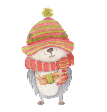 Watercolor Christmas hedgehog in a knitted striped scarf and hat with a gift in his hands hand drawn illustration