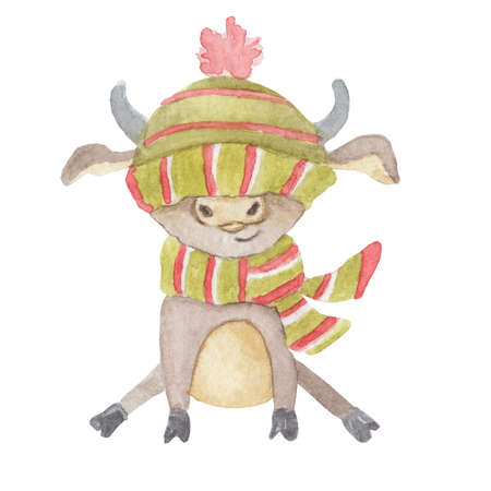 Watercolor Christmas cute bull in a knitted scarf and hat sitting. Cartoon symbol of the 2021 year. Isolated hand drawn illustration 版權商用圖片