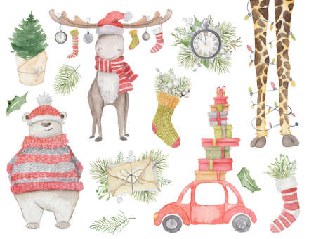 Watercolor Christmas decor set with moose, polar bear, giraffe legs, red car with presents, pine tree, clock, letter and socks. Hand drawn illustration