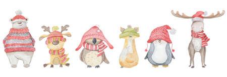 Watercolor Christmas animals polar bear, elk, owl, deer, penguin, Fox. Winter hand drawn illustration Isolated on the white background 版權商用圖片