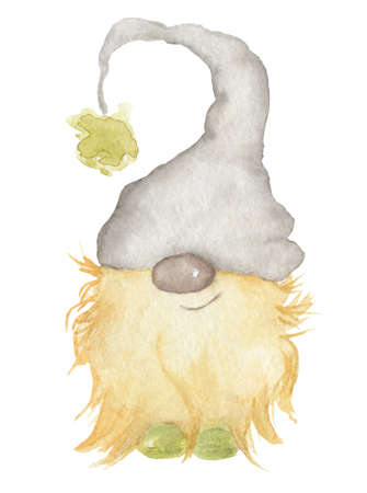 Watercolor illustration of cute christmas gnome in hat isolated on the white background