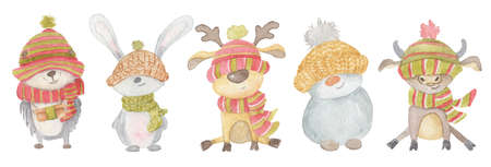 Watercolor Christmas animals hedgehog, hare, deer, snowman, bull. Winter hand drawn illustration Isolated on the white background