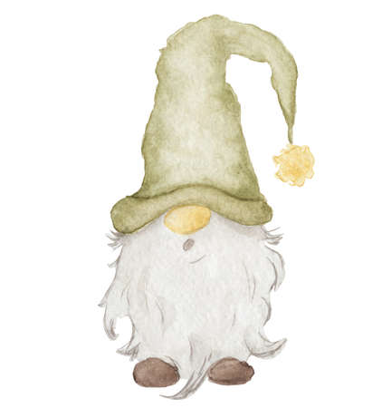 Watercolor illustration of cute christmas gnome in green hat isolated on the white background