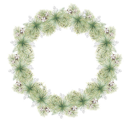 Watercolor Christmas wreath with pine tree branches, berries and cotton hand drawn illustration isolated on white background Imagens - 154000592