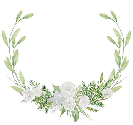 Watercolor Christmas wreath with pine tree branches and flowers hand drawn illustration isolated on white background