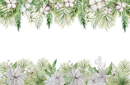 Watercolor Christmas borders with pine tree branches, berries and cotton hand drawn illustration isolated on white background Imagens - 154209216