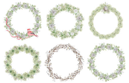Watercolor Christmas wreath with pine tree branches, red ribbon, bird and flowers hand drawn illustration isolated on white background Stock Photo