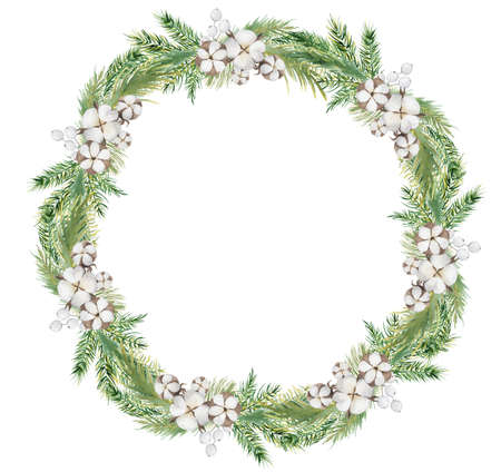 Watercolor Christmas wreath with pine tree branches, berries and cotton hand drawn illustration isolated on white background