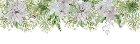 Watercolor Christmas borders with pine tree branches, berries and cotton hand drawn illustration isolated on white background 版權商用圖片 - 154209016