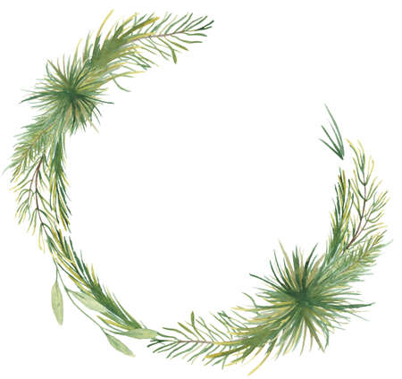 Watercolor Christmas wreath with pine tree branches hand drawn illustration isolated on white background Imagens