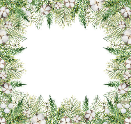 Watercolor Christmas borders with pine tree branches, berries and cotton hand drawn illustration isolated on white background 版權商用圖片 - 154865296