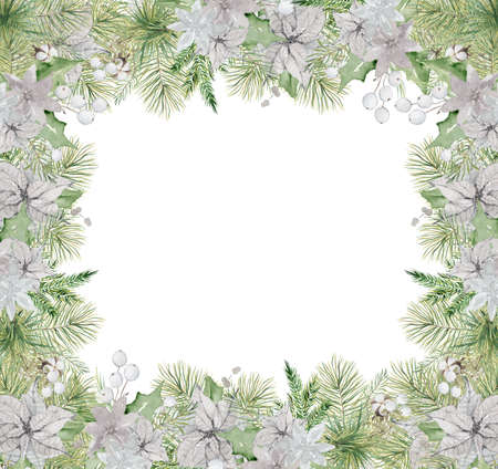 Watercolor Christmas borders with pine tree branches, berries and cotton hand drawn illustration isolated on white background
