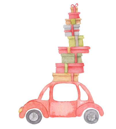 Watercolor Christmas red car with presents on it Winter hand drown illustration