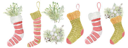 Watercolor Christmas socks set with mistletoe and pine  branches in it Hand drawn illustration Imagens