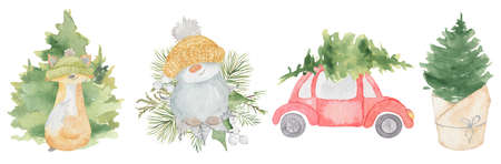 Watercolor Christmas snowman, fox, pine tree and car. Cartoon illustration isolated on the white background