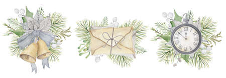 Watercolor Christmas clock, bells, letters with pine tree branches, mistletoe and white berries Hand drown illustration